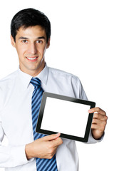 Businessman showing blank taplet pc monitor, isolated