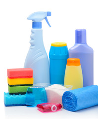 Cleaning supplies, sponges, cleaning powder and  garbage bags
