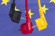 Leinwanddruck Bild - Stromkabel schwarz rot gelb