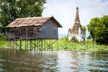 Burmese Palafitte and stupa