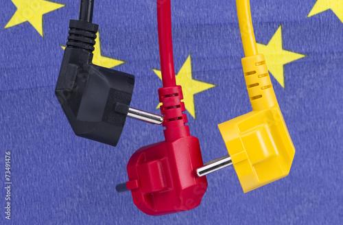 Leinwanddruck Bild Stromkabel schwarz rot gelb