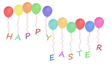 Happy Easter message with party balloons over white background