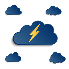 different clouds with 3d effect and lightening