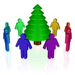 eine Gruppe Menschen bewundert einen Weihnachtsbaum