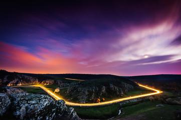mountain road in night