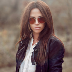 Fashion model woman wearing sunglasses
