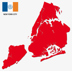 new york city map with flag