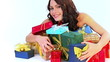 Woman with stack gift box on sale