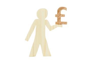 Pfund Symbol Holz Männchen freigestellt 2