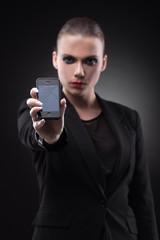 Woman with broken smartphone.