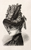 young woman wearing an elegant hat. vintage engraved illustratio