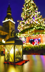 Lantern at european Christmas market
