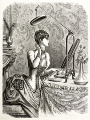 elegant woman looking at mirror. vintage engraving