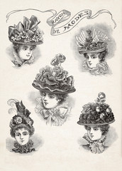 vintage hat fashion for woman. Mode newspaper magazine page