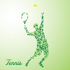 Abstract tennis player kicking the ball