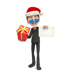 3d business man with gift and christmas hat