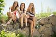 3 girlfriends cute teenage girls having fun