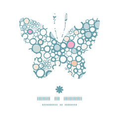 Vector colorful bubbles butterfly silhouette pattern frame