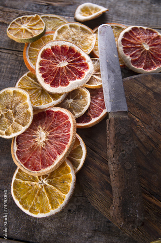 canvas print picture Slices of dried citrus