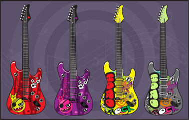 Electric Guitars art vector Pack 4