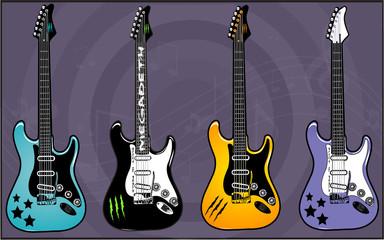 Electric Guitars art vector Pack 7