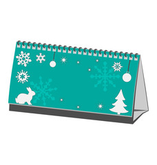 Cyan Christmas calendar with rabbit with pine with snowflakes is