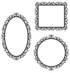 Three black vintage frames in different shapes isolated on white