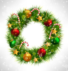 Shiny Christmas wreath with pine branches, candy canes, chains,