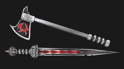 Realistic Sword and Axe Vector