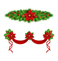 Two Christmas garlands with flower of poinsettia, holly sprigs,