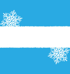White snowflakes with empty place on blue