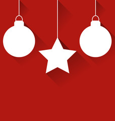 Two Christmas balls and star with effect of long shadows on red