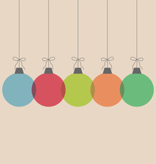 Five multicolored simple Christmas balls with bows isolated on b