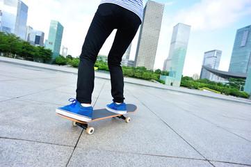 skateboarding on city