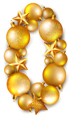 0 number made of shiny Сhristmas tree balls and stars