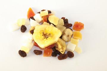 Dry cocos, papaya, raisins, pineapple and banana