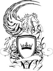 heraldic unicorn coat of arms crest shield2