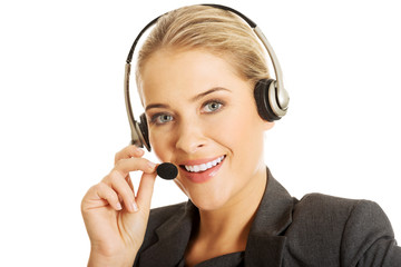 Call center woman talking to customer