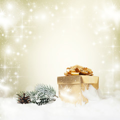 Christmas decorations and gift box
