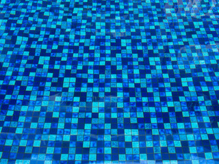 blue tiles in swimimg pool