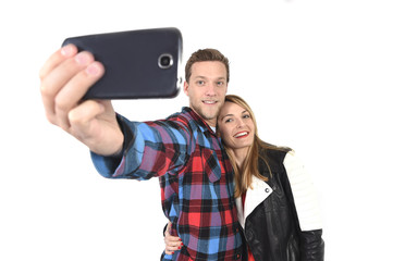 young beautiful couple in love taking romantic selfie photo