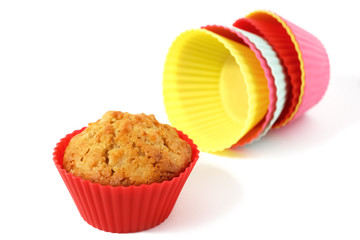 muffin in silicone baking cup