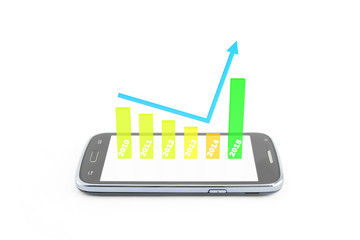 finance graphic 3d,become better 0n year 2015,on the smartphone