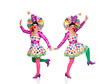 Two funny clowns dancing