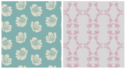 Seamless floral patterns. Hand drawn cherry flowers.