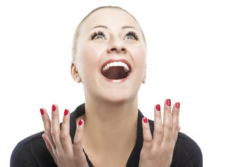 Surprised Happy Young Caucasian Woman Looking Sideways in Excite