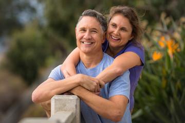 Portrait of an elder couple in a park