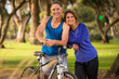 Leinwanddruck Bild - Senior couple happy in the park