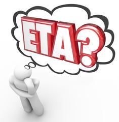 ETA Thinker Thought Cloud Estimated Time Arrival Travel Destinat