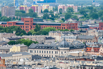 Aerial view of the city of Lodz (Łódź), Poland